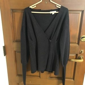 Something Navy Wool Wrap Sweater